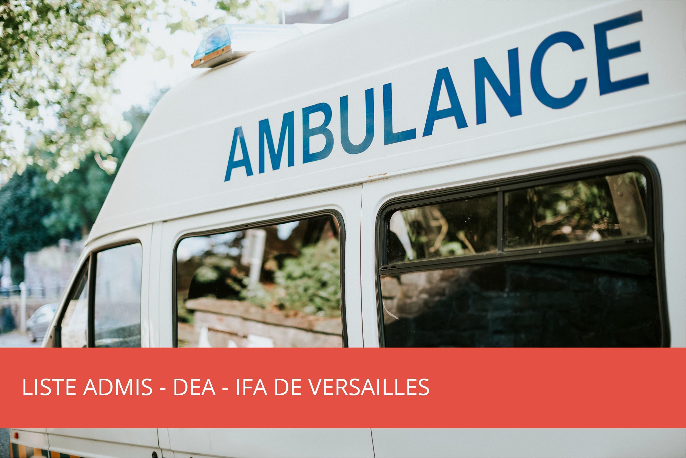 Liste des admis : DEA IFA de Versailles – Septembre 2021